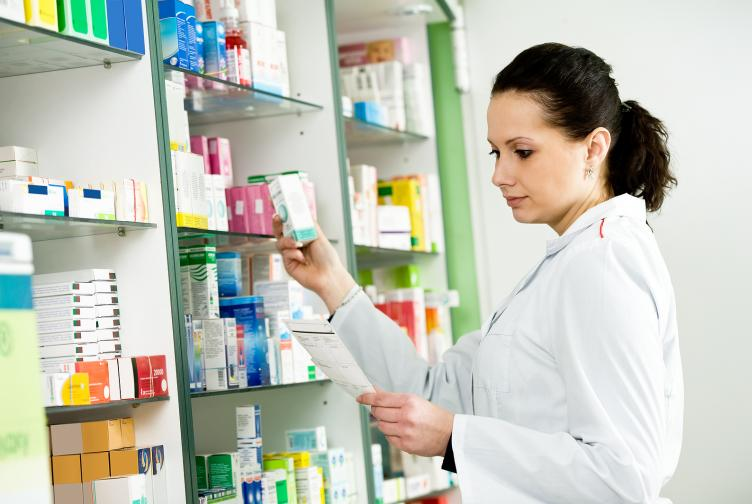 Pharmacist choosing medications