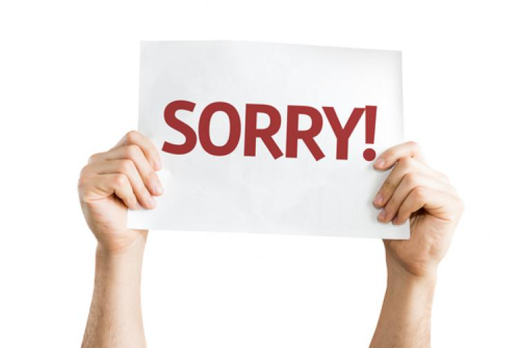 Sign saying Sorry